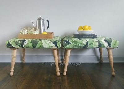 Bohemian Palm Leaf foot stools