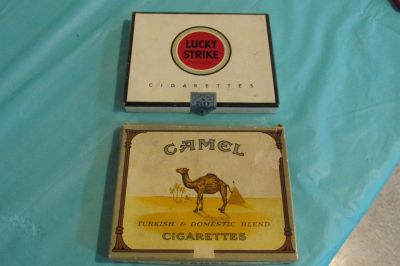 Either Lucky Strike or Camel Cardboard Cigarette Box