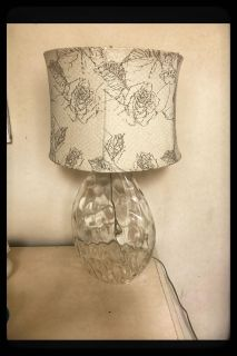 2 identical clear lamps with beige and gray shades