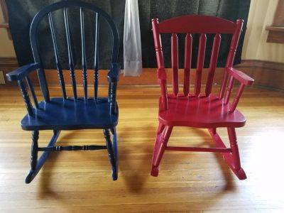 2 Toddler Wooden Rocking Chairs