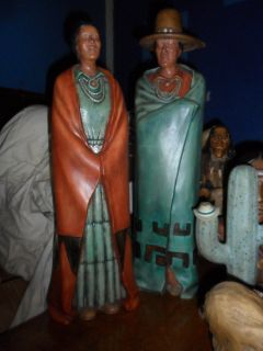 Native American Man & Woman with Cactus Set