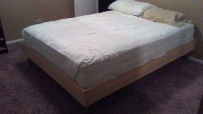 Queen Mattress and elevated Bed Frame