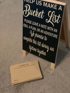 Bucket list easel sign and cards rustic wedding