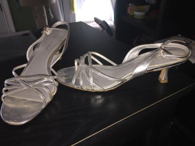 Silver strapped shoes 8