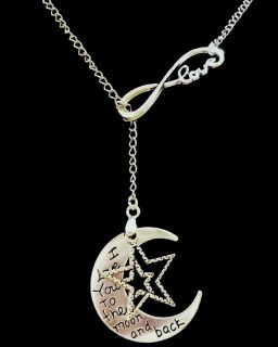 Silver Toned Love Moon Stars Infinity Necklace
