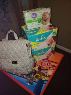 Pampers and diaper bag