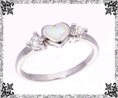 New - Dainty Heart White Fire Opal and White Topaz Ring - Size 8