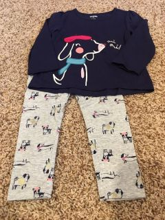 Gymboree sz 2T navy and gray dog outfit
