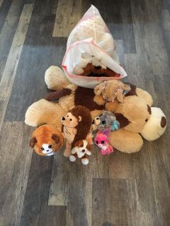 Assortment of stuffed animals; first come, first served