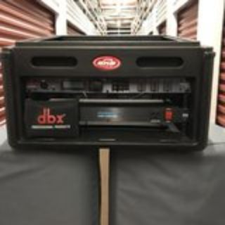 SKG 4 pace rack gig box with DBX Drive Rack and Furman Power Conditioner