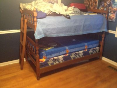 Bunk beds with desk and hutch