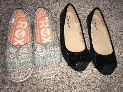 Sz 1 Cat & Jack sparkly black shoes worn once & comfy Roxy slip on sneakers