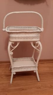 VICTORIAN WICKER SEWING BASKET STAND