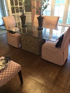 Large glass table w/ stand