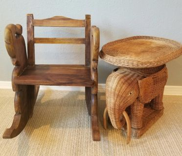 Vintage Elephant Rocking Chair and Rattan Table!