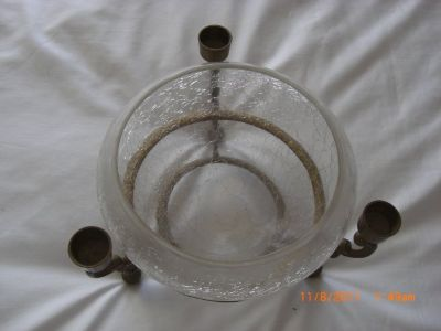 "8"" CRACKLE GLASS BOWL WITH SOLID BRASS PEDESTAL STAND 3 Candle Holder"