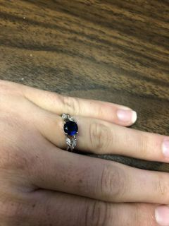 Sterling silver cubics and sapphire ring size 7