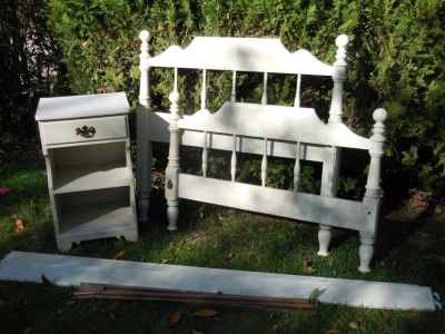 Ethan Allen White Twin Bed and Nightstand