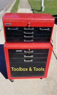 Tool box with assorted tools.