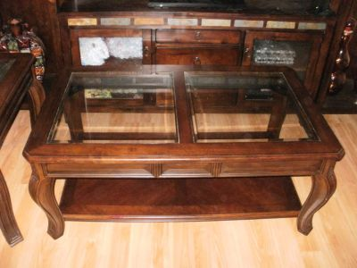 CHERRY COFFEE TABLE AND MATCHING END TABLE EACH HAS GLASS INSERT-NICE!