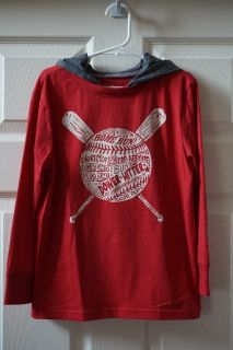 Boys Children's Place Red Baseball Graphic Tee w/ Hood Size S (5/6)