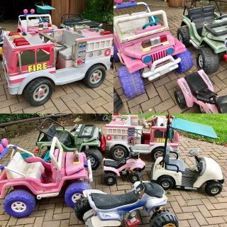 6 Power Wheels type battery operated kids cars