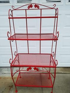 Red / Wrought Iron Indoor / Outdoor Microwave Bakers Rack