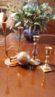 Brass/copper candle holders and brass ball. $5 for all