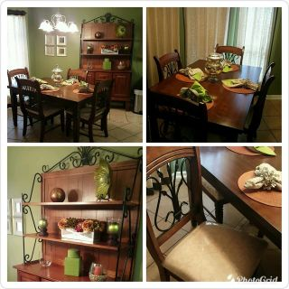 Dark Wood Square Table Set w/4 chairs (chairs seats covered) & Hutch Both Very Heavy & Sturdy
