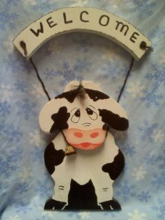 COW WELCOME SIGN -- Hand Crafted Wood Barnyard/Farmhouse Folk Art