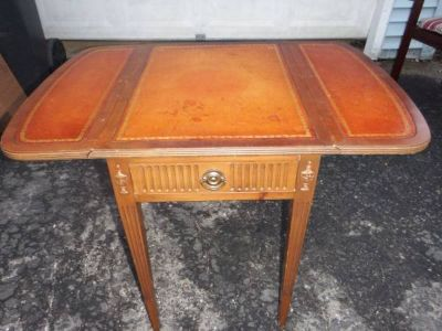 VINTAGE ALL WOOD DROP LEAF SIDE TABLE WITH LEATHER INLAYS
