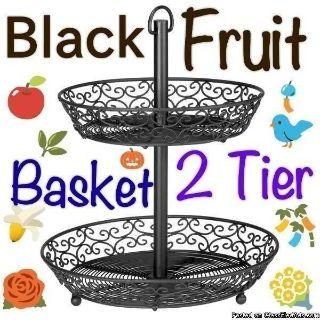 Decorative - Round - 2 Tier - - Fruit Stand/ Black Wire Basket