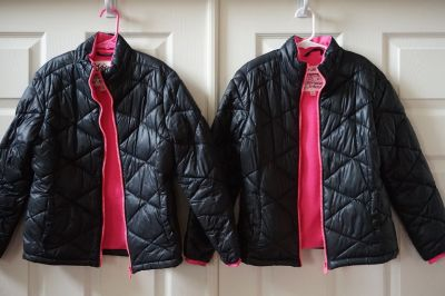 Girls Justice Puffer Jacket Black/Pink Size 8/10, Quantity
