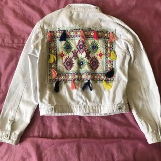 Maison Simmons Brand new white denim jeans colorful embroidered jacket price drop**