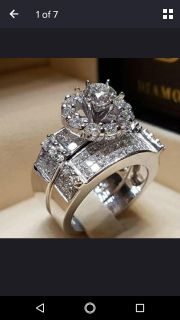 Size 9 Sterling silver wedding band cubic zirconia set