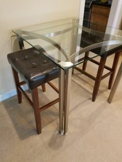 ****Glass and Brushed Nickel Table****
