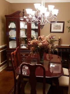 Cherry Wood Dining Set Table, Chairs & lighted China Cabinet