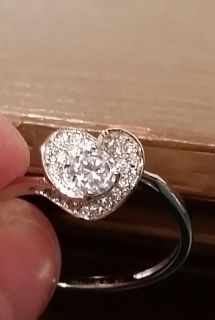 Beautiful sterling silver and cubic zirconia ring size 9