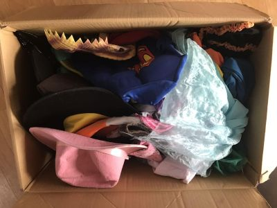 Box of boys and girls dress up
