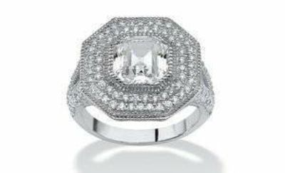 ***REDUCED***This Is GORGEOUS..3.15 TCW Ascher-Cut CZ Halo Hexagon Ring in Sterling Silver***