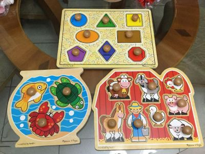 EUC! Set of 3! Melissa & Doug Solid Wood Puzzles! Easy to Grip! NS Meet AB Park or PPU