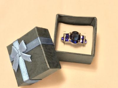 Square layered blue ring