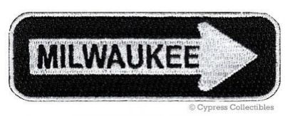 Sell MILWAUKEE ROAD SIGN BIKER PATCH embroidered iron-on MOTORCYCLE VEST EMBLEM new motorcycle in Austin, Texas, United States