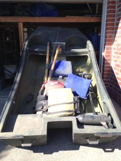 Boat by Seawolf, electric motor, oars, and lifejackets