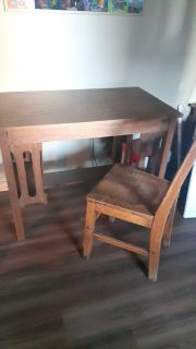 Antique library desk and chair