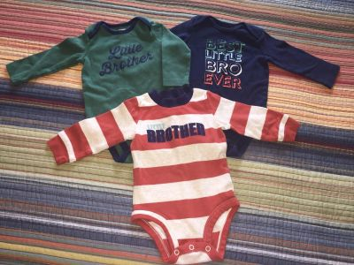 6 mo Carter s Little Brother long sleeve onesies; $6