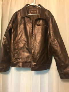 Men s black leather jacket (Guess)