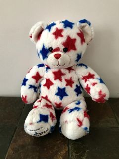Patriotic Plush Build a Bear. White with red and blue stars. Custom made at Mall of America