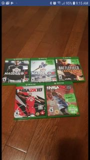 Xbox one games 5 for 25$ selling together