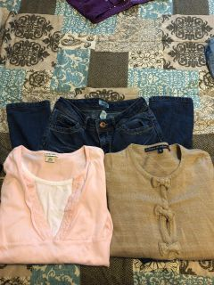 Girls size 14 - 2 shirts/1 pair of jeans